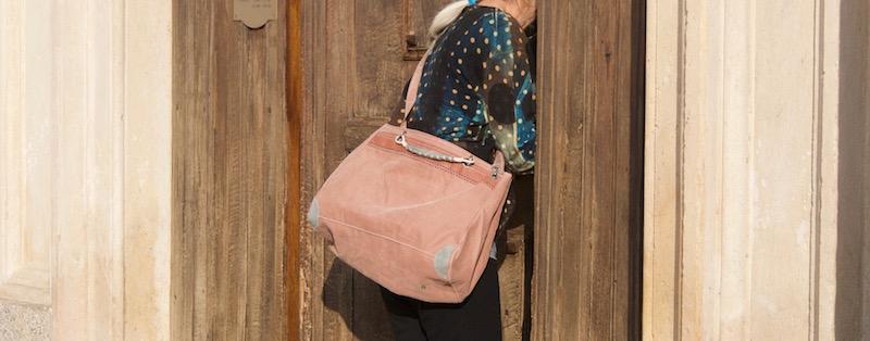 Bauletto très beau sac en voile  ou blanc ou tanbark (cachou)